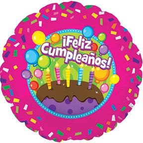 "17"" Feliz Cumpleanos Cake Balloon Packaged"