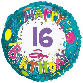 "18"" Happy 16 Birthday Streamers"