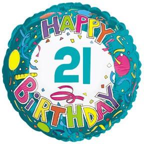 "18"" Happy 21 Birthday Streamers"