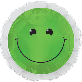 """17"""" Green Smiley Balloon Packaged"""