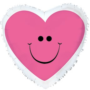 "17"" Pink Smiley Heart Mylar Balloon Packaged"