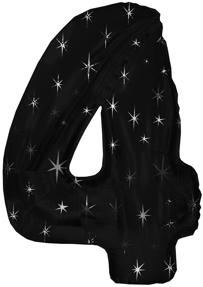 "38"" Black Sparkle Four Jumbo Number Balloon"