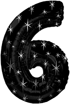 "38"" Black Sparkle Six Jumbo Number Balloon"