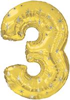 """38"""" Gold Sparkle Three Jumbo Number Balloon"""