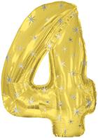 "38"" Gold Sparkle Four Jumbo Number Balloon"