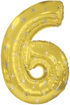 """38"""" Gold Sparkle Six Jumbo Number Balloon"""