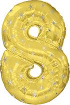 """38"""" Gold Sparkle Eight Jumbo Number Balloon"""
