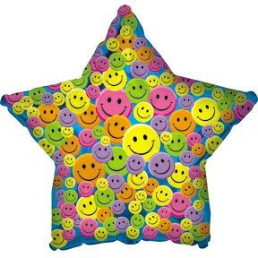 """18"""" Many Smiley Faces Generic Star"""