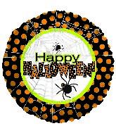 """18"""" Happy Halloween Spider Web Polka Dots"""