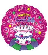 "17"" Happy Sweet 16 Cake Packaged"