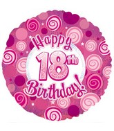 "18"" Happy 18th Birthday Pink Dazzeloon"