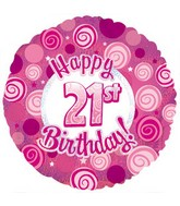 "17"" Happy 21th Birthday Pink Dazzeloon Packaged"