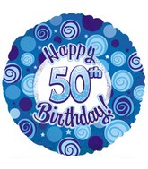 "18"" Happy 50th Birthday Blue Dazzeloon"