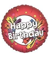 "4"" Airfill Happy Birthday Stars Red"