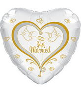 "17"" Just Married Doves Balloon Packaged"