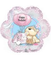 "18"" Fizzy Moon Happy Birthday Day Pink Flower Balloon"