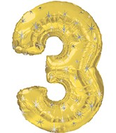 "38"" Gold Sparkle Three Jumbo Number Balloon"