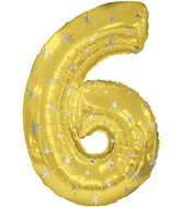 "38"" Gold Sparkle Six Jumbo Number Balloon"