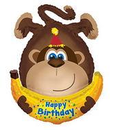 "34"" Happy Birthday Day Monkey W/Banana Packaged"