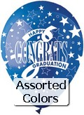 "12"" Assorted  ""Congrats Graduates"" Latex 50's"