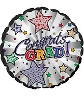 """18"""" Congrats Grad! White & Pearl Stripes"""