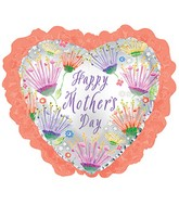 """14"""" Airfill Only Happy Mother's Day Coral Ruffle Balloon"""