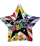 """18"""" Congrats Grad! Multi-Colored Stripes"""
