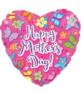 """17"""" Happy Mother's Day Pink W/Flowers Balloon"""