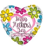 """17"""" Happy Mother's Day Ink Flowers Heart Balloon"""