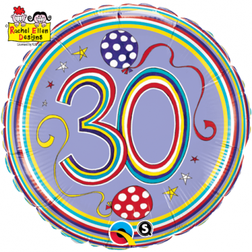 """18"""" Dots & Stripes Age 30 Licensed Packaged Mylar Balloon"""