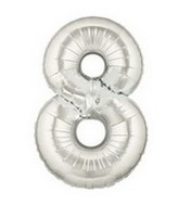 """40"""" Megaloon Large Number Balloon 8 Silver"""
