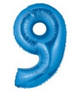 "40"" Large Number Balloon 9 Blue"