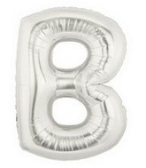 """40"""" Megaloon Large Letter Balloon B Silver"""