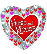 """17"""" Hugs and Kisses Hearts Silver Packaged"""