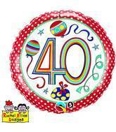 "18"" Dots & Stripes Age 40 Licensed Mylar Balloon"