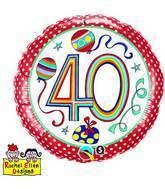"18"" Dots & Stripes Age 40 Licensed Mylar Balloon"
