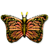 "38"" Jumbo Foil Shaped Balloon Royal Butterfly Orange"