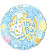 """18"""" It's A Boy Soft Giraffe Mylar Balloon"""