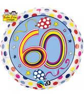 "18"" Dots & Stripes Age 60 Licensed Packaged Mylar Balloon"
