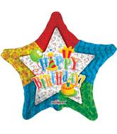"30"" Happy Birthday Patterned Star Balloon"