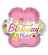 """4"""" Airfill Only Birthday Wishes Flower Balloon"""