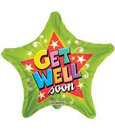 "9"" Airfill Only Get Well Green Star Balloon"