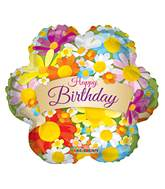 """4"""" Airfill Only Happy Birthday Flowers With Banner Balloon"""