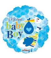 """9"""" Airfill Only Baby Boy Stork Balloon"""