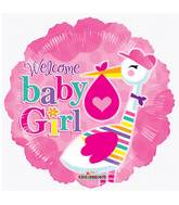 """9"""" Airfill Only Baby Girl Stork Balloon"""
