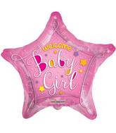 """18"""" Welcome Baby Pink Star Balloon"""