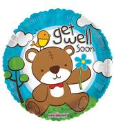 "18"" Get Well Bear With Flower Balloon"