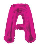 "14"" Airfill with Valve Only Letter A Hot Pink Balloon"