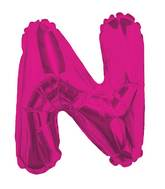 """14"""" Airfill with Valve Only Letter N Hot Pink Balloon"""