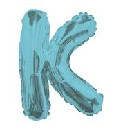 """14"""" Airfill with Valve Only Letter K Light Blue Balloon"""